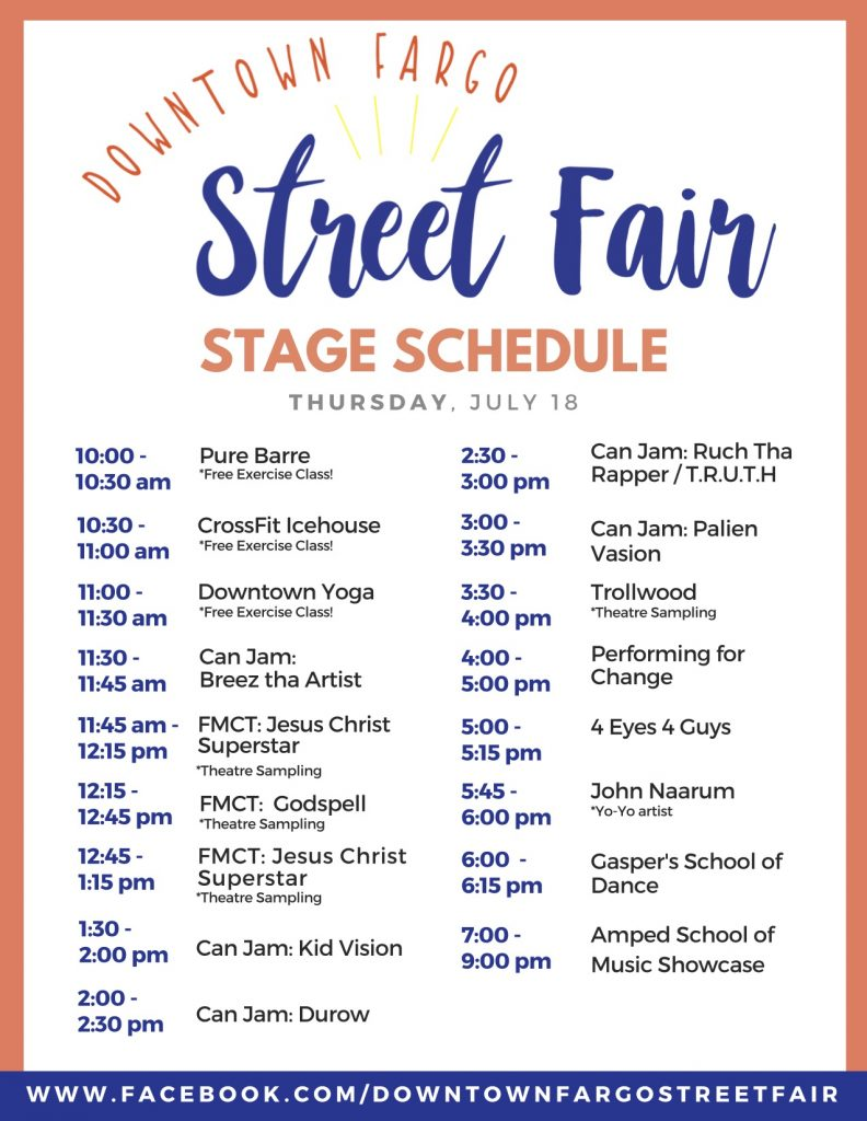 2019 Stage Schedule Thursday