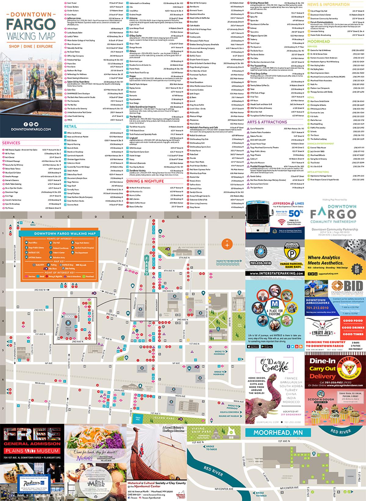 2020 walking map downtown fargo